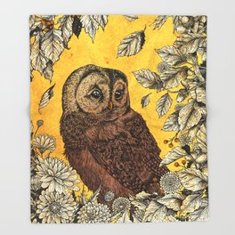 Tawny Owl Yellow Throw Blanket