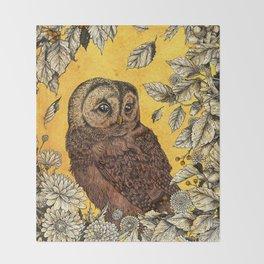 Tawny Owl Yellow Throw Blanket