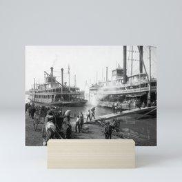 Mississippi River Steamboats At The Dock - Memphis - 1906 Mini Art Print