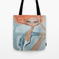 jessica lange Tote Bags featuring Jessica by Adam Osgood