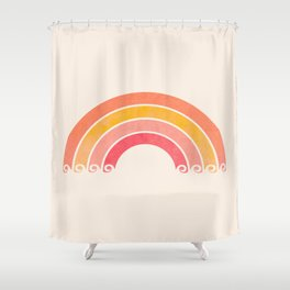 Whimsical Vintage Rainbow Waves Shower Curtain