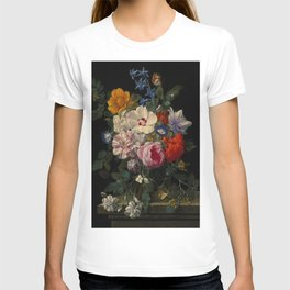 """Nicolaes van Veerendael """"Flowers in a glass vase with a butterfly and beetle on a stone ledge"""" T-shirt"""
