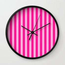 Light Pink & Deep Pink Stripes Wall Clock