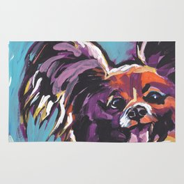 Fun Papillon portrait Dog bright colorful Pop Art Rug