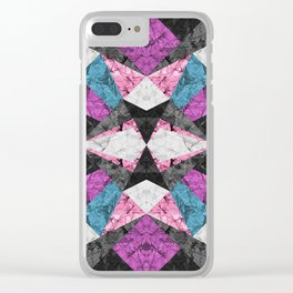 Marble Geometric Background G438 Clear iPhone Case