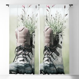 Hiking Boot With Flowers Photo | Travel Photography | Hiking Lovers Blackout Curtain
