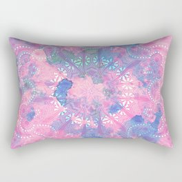 Pink Blue Mandala Watercolor floral Pattern Rectangular Pillow