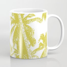 Palm Trees Design in Gold and White Coffee Mug