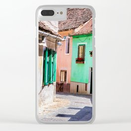 Multi Coloured Cottages Clear iPhone Case