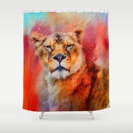 Colorful Expressions Lioness Shower Curtain