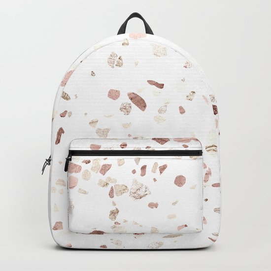 Rose Gold on White Terrazzo Backpack
