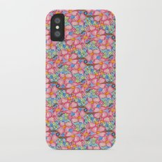 Tiled Pink Dogwood Flowers on Blue Background Slim Case iPhone X
