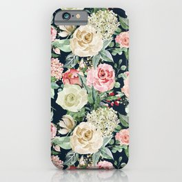 Country chic navy blue pink ivory watercolor floral iPhone Case