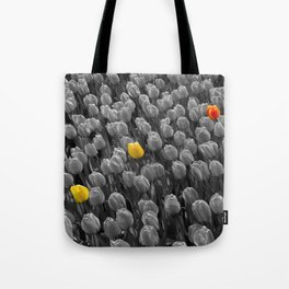 Tulips [Colour on Black and White] Tote Bag