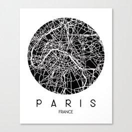 Paris Round Black Canvas Print