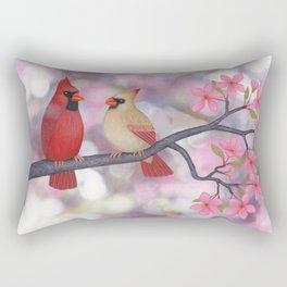cardinals and crab apple blossoms Rectangular Pillow