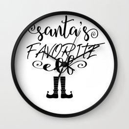 Santa's Favorite Elf Christmas Design Wall Clock