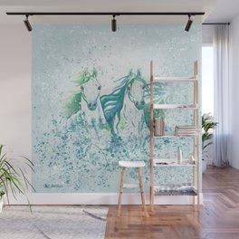 Two Arabian Horses in Watercolor Wall Mural