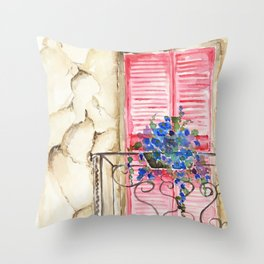Balcony in France Throw Pillow