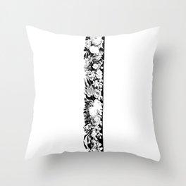 Decorative Floral Frame 1, Black Throw Pillow