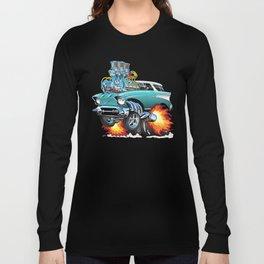 Classic Fifties Hot Rod Muscle Car Cartoon Long Sleeve T-shirt