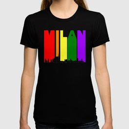 Milan Italy Gay Pride Rainbow Skyline T-shirt