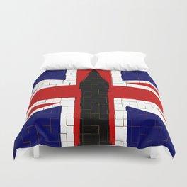Union Flag With Big Ben Tiled Duvet Cover