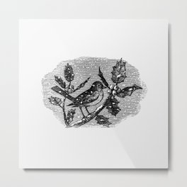 Vintage winter bird etching  from The Babys Museum or Rhymes jingles and ditties newly arranged by U Metal Print