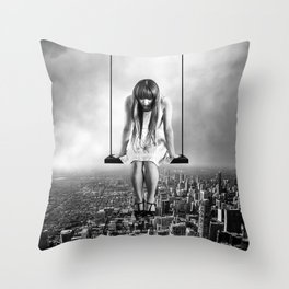 Girl Looking from Above Throw Pillow