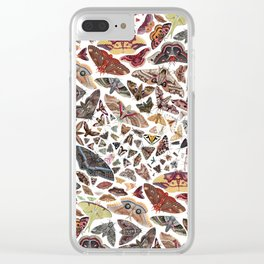 Moths of North America Pattern Clear iPhone Case