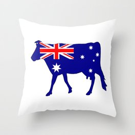 Australian Flag - Cow Throw Pillow