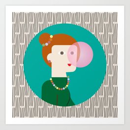 The girl and the bubble gum Art Print