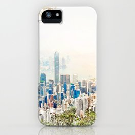 modern city skyline aerial view under sunrise and blue sky in Hong Kong, China iPhone Case