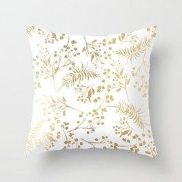 Elegant modern white faux gold floral Throw Pillow