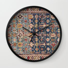Dusty Blue Green Kuba 19th Century Authentic Colorful Yellow Bands Vintage Patterns Wall Clock