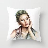 jennifer lawrence Throw Pillows featuring Jennifer Lawrence by Creadoorm