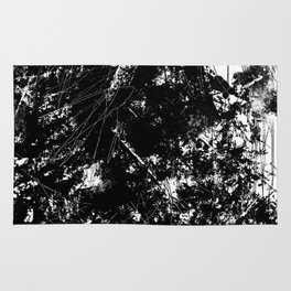 Black and White Urban Abstract Scratch Pattern Rug