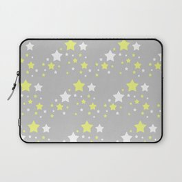 Yellow White Stars on Grey Gray Laptop Sleeve