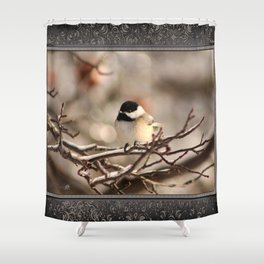 Black-Capped Chickadee in Winter Shower Curtain
