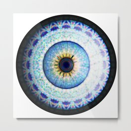 Blue Ceramic  Eyball Jewel Metal Print