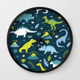 Kawaii Dinosaurs in Blue + Green Wall Clock