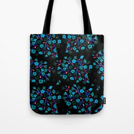 Blue Blossoms on Black Tote Bag