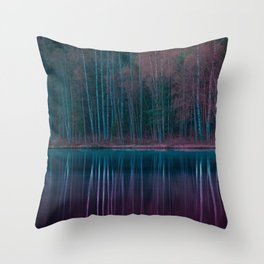 Forest Reflections Purple and Green Throw Pillow