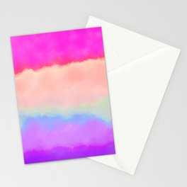 Modern girly pink magenta violet lavender watercolor stripes Stationery Cards