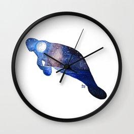 GALAXY STARRY NIGHT MANATEE ART PRINT PAINTING Wall Clock