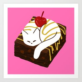 Brownie a la Mode Cat Art Print