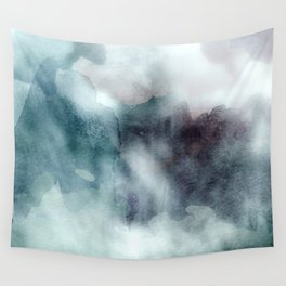 Watercolor Mixed Media Teal Purple Wall Tapestry