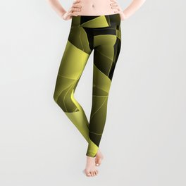 Iridescent overlapping sheets of yellow paper triangles. Leggings