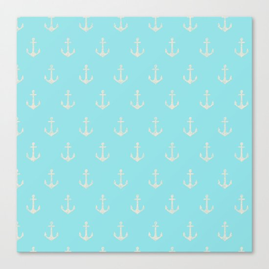 Maritime Aqua and White Anchor Pattern on #Society6 Canvas Print