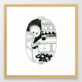 Five of Mugs Skeleton Tarot Framed Art Print